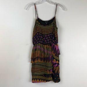 Charlie Jade 100% Silk Tiered Dress Small